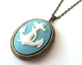 Blue Anchor Locket, Nautical Locket, Sailor Locket, Cameo Locket Necklace, Blue Locket, Powder Blue, Antique Bronze or Gunmetal