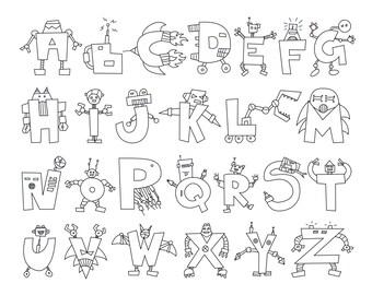 Alphabet Robots Coloring Sheet - Digital Download