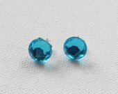 CLEARANCE - Round Blue Stud Earrings