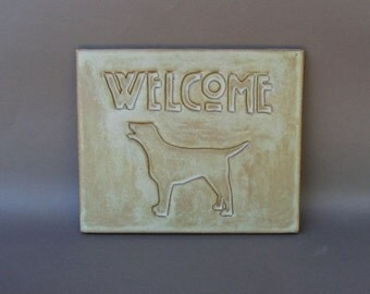 "Hanging Stoneware ""Welcome"" Tile with Dog Silhouette"