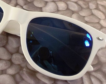 vintage 90s deadstock sunglasses wayfarer white plastic frame blue revo sun glasses eyewear fashion men women unisex simple classic crisp 44