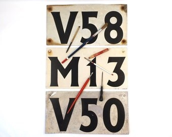 vintage 50s industrial metal signs set text v58 v50 m13 black on white rectangular wall hanging military distressed age wear rust urban old