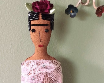 Frida Kahlo Doll - Frida Doll - Frida Kahlo Art Doll - Folk Art Ornament - Frida Ornament - Folk Art Doll - Inspired by Mexican Folk Art