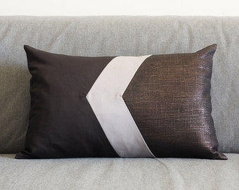 Geometry Pillow Cover I Black Gray & Metallic 12X18""