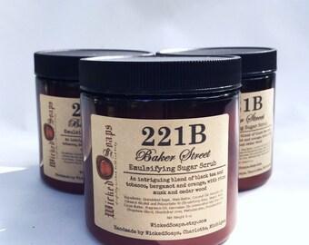 221B Baker Street Sugar Scrub - Black Tea Tobacco Bergamot Emulsifying Sugar Scrub Body Polish by WickedSoaps