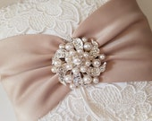 Champagne Pillow, Ivory Pillow, Venise Lace Pillow, Rhinestone/Pearl Brooch Pillow