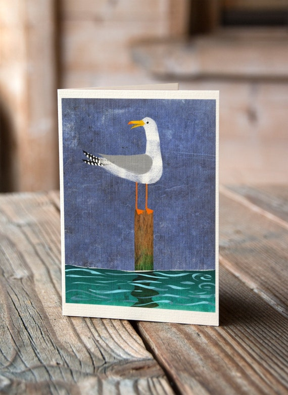 Cornish Seagull On A Post - Greetings Card