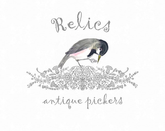 Premade Antique Logo Watercolor Bird