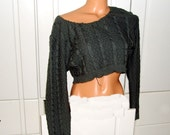 Boho crop top sweater, Upcycled Sweater size Large XL XXL Bohemian Sweater Off Shoulder Top Pullover Knit Cropped Short