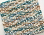 Knit Dishcloth, Cotton Dishcloth, Knitted Washcloth, Teal Kitchen Decor, Blue Brown Dishcloth