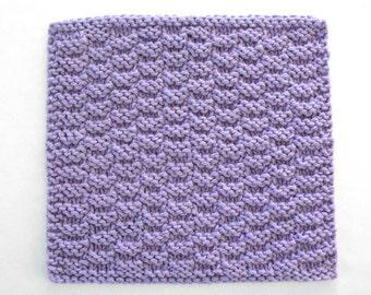 Cotton Dishcloth, Knit Dishcloth, Knitted Washcloth, Purple Dishcloth