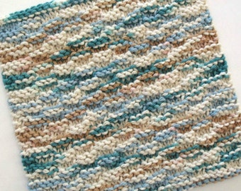 Knit Dishcloth, Cotton Dishcloth, Knitted Washcloth, Teal Kitchen Decor, Blue Brown Dishcloth