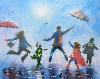 Family Art Print, super hero kids, singing in the rain, mom dad two boys and girl, big sister, two brothers, Vickie Wade Art
