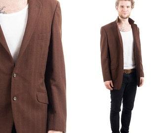 SALE . Vintage 80s MENS BLAZER . Brown Preppy Wool 1980s Ivy League Retro Classic Detective Jacket Sport Coat . sz Medium