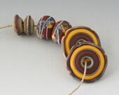 Rustic Artisan Pairs - (6) Handmade Lampwork Beads -  Red, Yellow