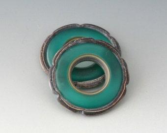 Rustic Ruffle Discs - (2) Handmade Lampwork Beads - Teal Green