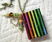Book Necklace - Book Jewelry - Book Pendant - Book Journal - Handmade Book - Rainbow Stripes Fabric - BN-65