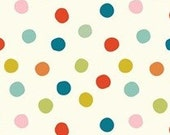 KNIT Organic Cotton Fabric- Birch - Pop Dots - Multi - Great Shipping Rates
