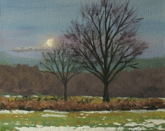 "Small oil painting,  winter landscape with the moon, 6""x6"" gallery wrapped canvas"
