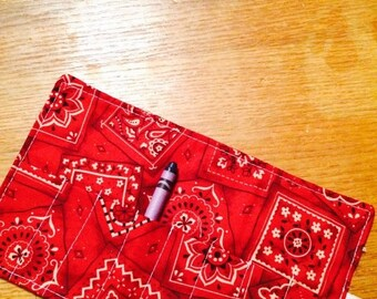 Sale Christmas in July Crayon Roll up bandana red