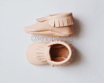 Peach Leather Moccasins