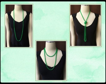 Vintage Neon Green Necklace, 47 inches, Long, One size fits all, Lightweight, 1970's
