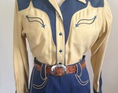 Vintage 1940s Nathan Turk Western Suit 2 Piece Outfit Gabardine