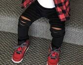 Unisex Distressed Black Sweatshirt Fleece Baby Joggers