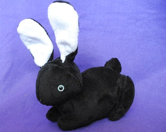 Black and White Bunny Plushie READY TO SHIP