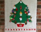 Advent Calendar Retro Christmas Tree Burlap
