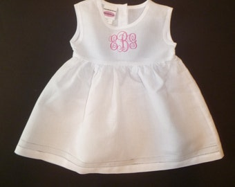 Girls Linen Dress Embroidered Dress Monogram Personalized Girls Toddler Cotton Linen Hemstitched Dress