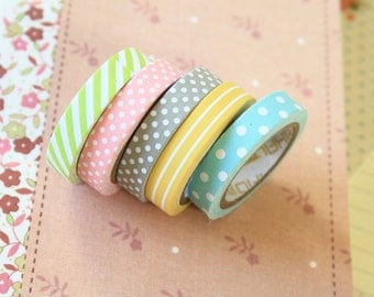 Polka Dots & Stripes mini paper deco tape 5pc set