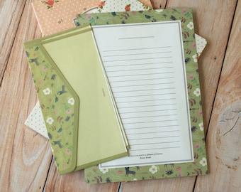 Black Cat Indigo cartoon writing paper & envelopes letter set