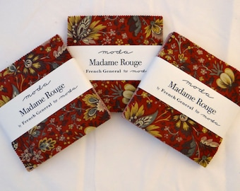 MADAME ROUGE (3) charm packs cotton fabric Moda precuts shabby quilting French General sewing maker turkey red creme rouge brown Kaari Meng