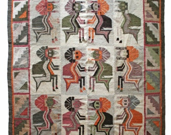 Latin American Hand Woven Wool Rug - Mythological Tribal Textile Throw - Free Shipping - Payment Plan Available