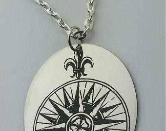 """French Compass Necklace - 18"""" chain with Stainless Steel Pendant"""