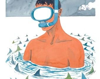 Indruder - Sharks & Snorkeler Watercolor Illustration Print