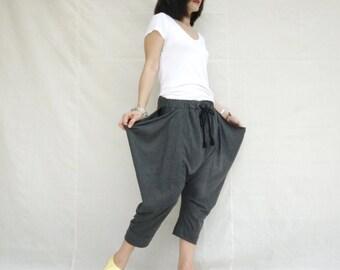 Funky Harem Boho Capri Drop Crotch Dark Hetaher Grey Cotton Jersey Pants With Flap Side And Elastic Waist & 2 Pockets