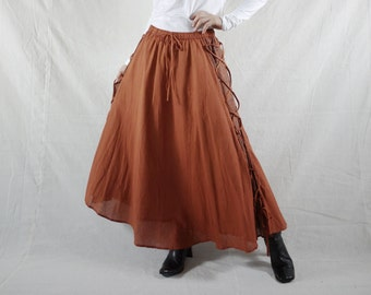 Full Circle Long Maxi Burnt Orange Light Cotton Skirt With Lining