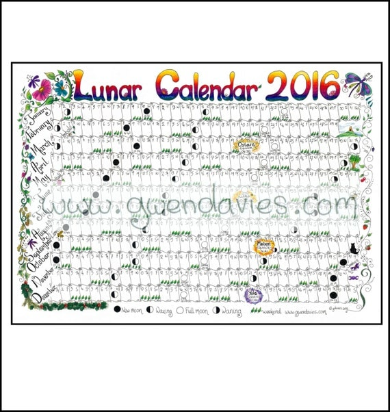 Items Similar To 2016 Lunar Moon Calendar Hand Drawn A4