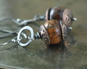 Artisan Earrings Boho Chic Hippie Earrings, Red Jasper Stones, Handmade Sterling Silver Copper