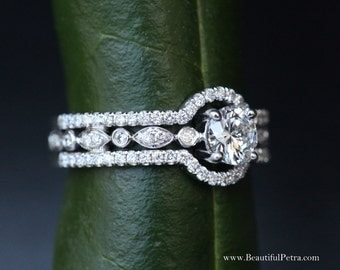 THREE IN ONE - 14k White gold - Diamond Engagement Ring - Halo - Unique - Pave - Bph015