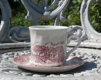 Churchill Red Transferware The Brook Cup and Saucer Set, Made in England