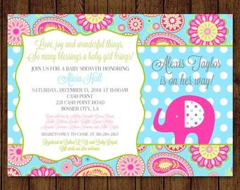 Elephant Baby Shower, Paisley Baby Shower Invitation, Elephant Invitation, Pink Paisley, It's a Girl, Sprinkle, Digital File Printable DIY