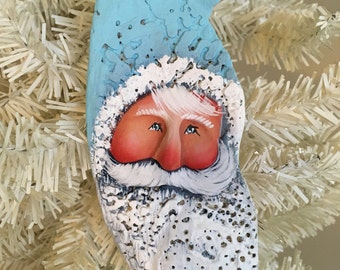 Coastal cottage aqua turquoise blue Christmas at the beach shabby oyster sculpted Santa sea shell #702