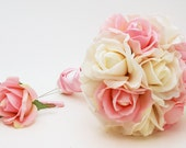 Reserved - Pink White Rose Wedding Flower Package Bridesmaid Bouquet Real Touch Roses - Customize for Your Wedding Colors