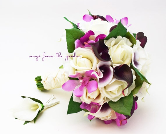 Real Touch Plum and Picasso Callas Orchids White Roses Bridal Bouquet - Real Touch Silk Flower Bridal Bouquet - Customize for your Colors