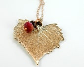 Rose Gold Plated Cottonwood Leaf on long chain, 30 inch Heart Pendant Necklace, Real Leaf Jewelry