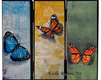 3 butterfly - Pallet art print - multiple colors features monarch butterfly blue butterfly trio 9 x 11 inches on wood repurposed 3d