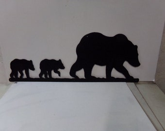Bear 004 Lage Metal Wall Art Wildlife Silhouette